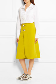 Crystal-embellished wool-crepe wrap skirt
