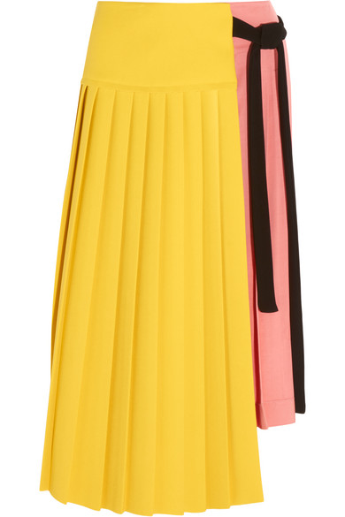 Marni - Pleated Crepe And Satin Wrap Skirt - Yellow
