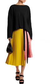 Pleated crepe and satin wrap skirt