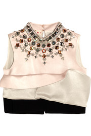 Marni Cropped embellished silk-satin and crepe top