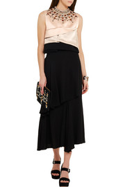 Cropped embellished silk-satin and crepe top