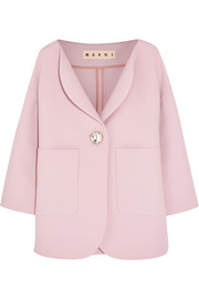 Crystal-embellished wool-crepe jacket