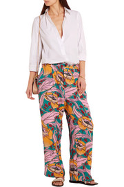 Printed crepe wide-leg pants