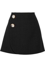 Wool wrap mini skirt