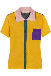 Color-block metallic knitted polo shirt