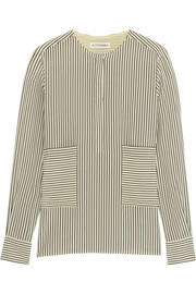Carnegie pinstriped silk crepe de chine shirt