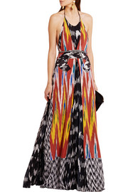 Peacock printed georgette and silk gown