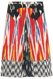Toco printed georgette-paneled silk skirt