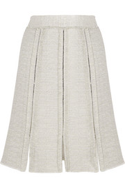 Paneled frayed tweed skirt
