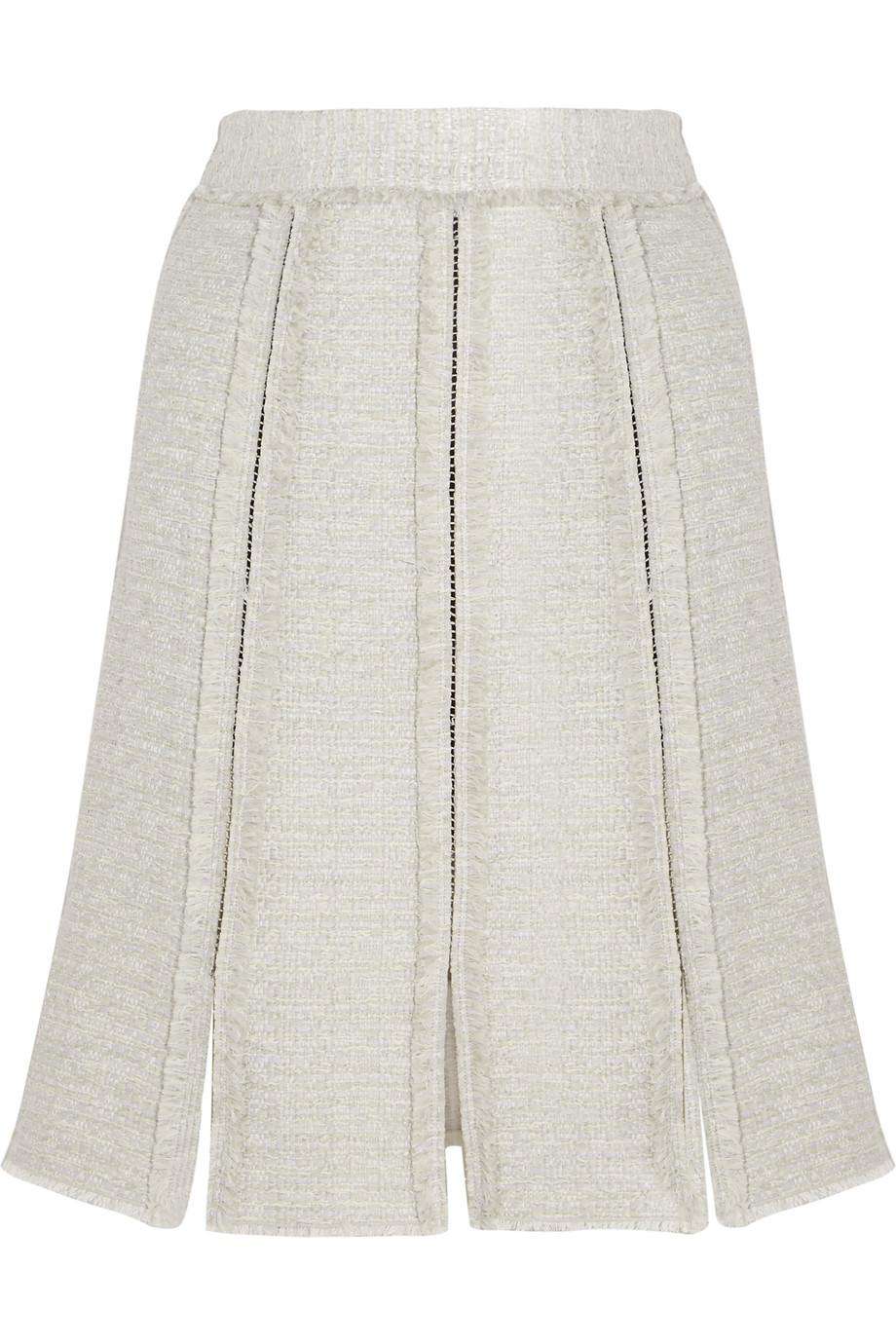 Proenza Schouler Paneled Frayed Tweed Skirt, Light Gray, Women's, Size: 6