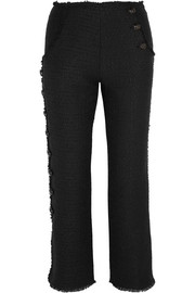 Cropped frayed tweed flared pants