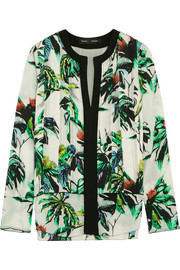 Pleated printed silk-crepe blouse