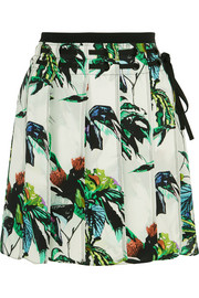 Pleated printed silk-crepe mini skirt
