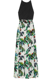 Printed silk and crepe maxi dress