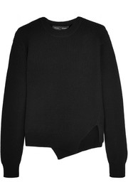 Asymmetric stretch wool-blend sweater