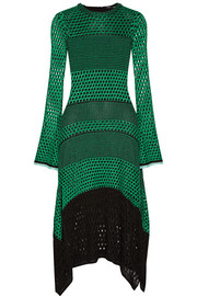 Asymmetric crocheted midi dress