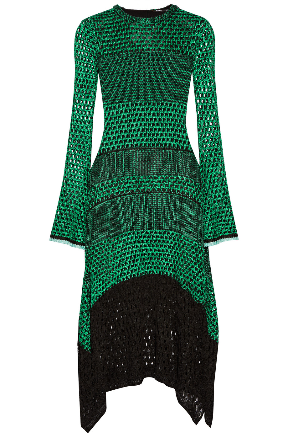 Proenza Schouler Asymmetric Crocheted Midi Dress, Forest Green, Women's