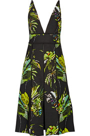 Cutout printed silk dress