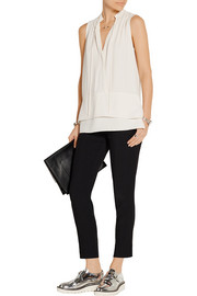 Wrap-effect crepe top