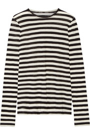 Striped slub cotton-jersey top