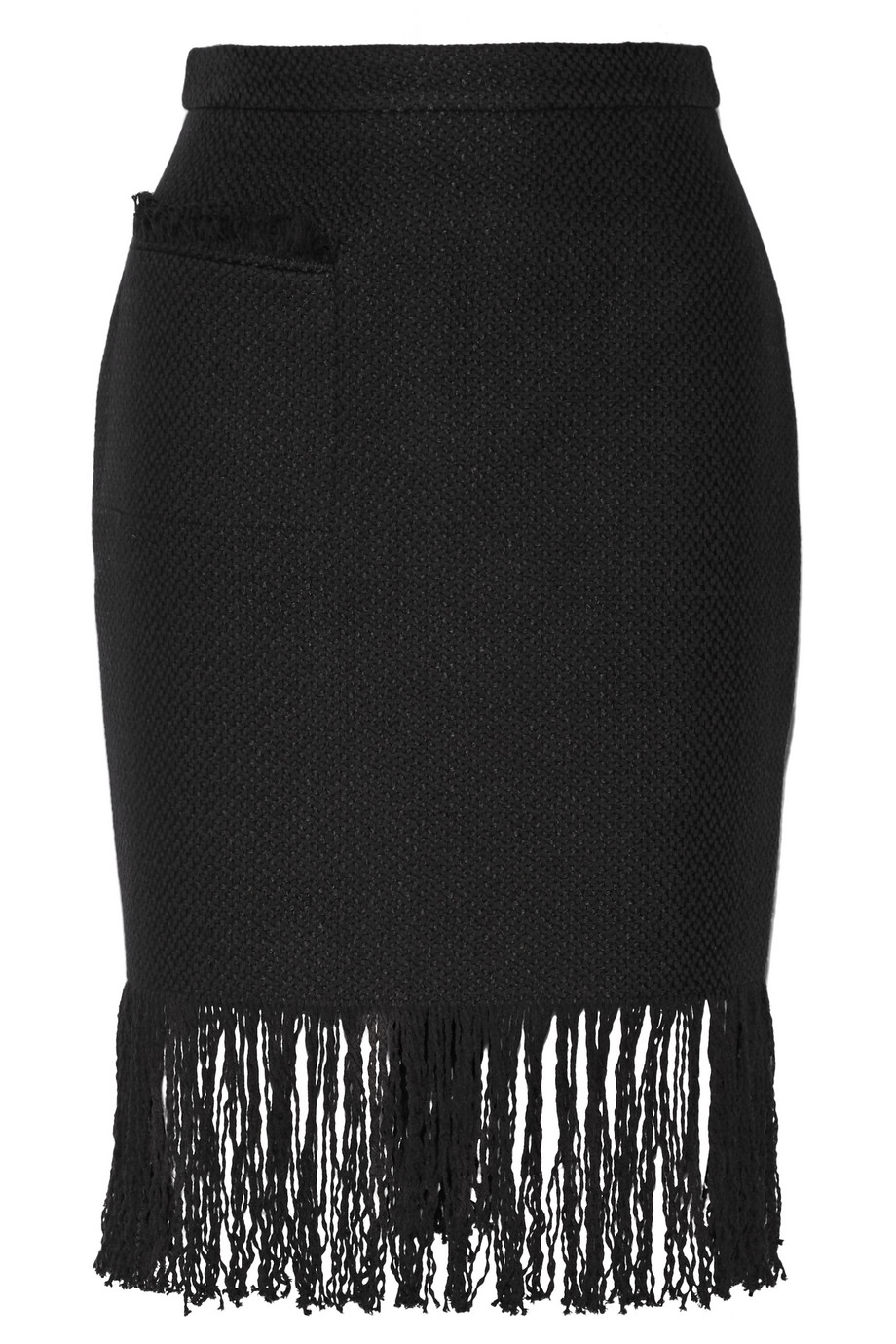 Adam Lippes Fringed Linen and Cotton-Blend Tweed Skirt, Black, Women's, Size: 10
