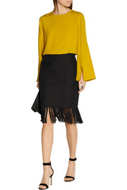 Fringed linen and cotton-blend tweed skirt