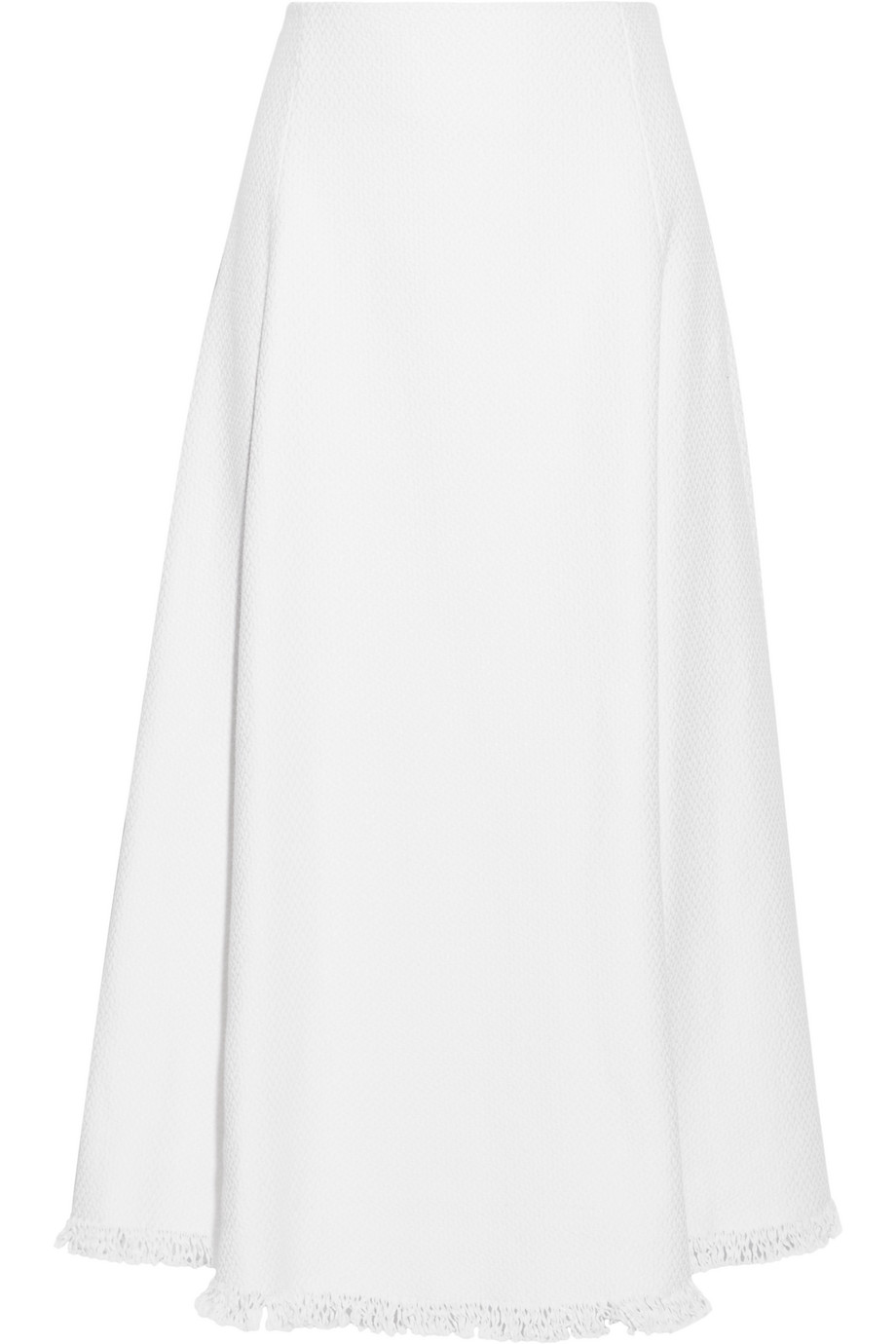 Adam Lippes Fringed Linen and Cotton-Blend Tweed Midi Skirt, White, Women's, Size: 8