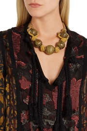 Lanvin Gold-tone and cord necklace