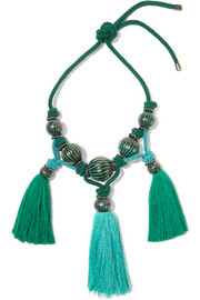 Plastron tasseled enameled brass necklace