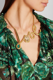 Lanvin Love gold-tone Swarovski crystal necklace