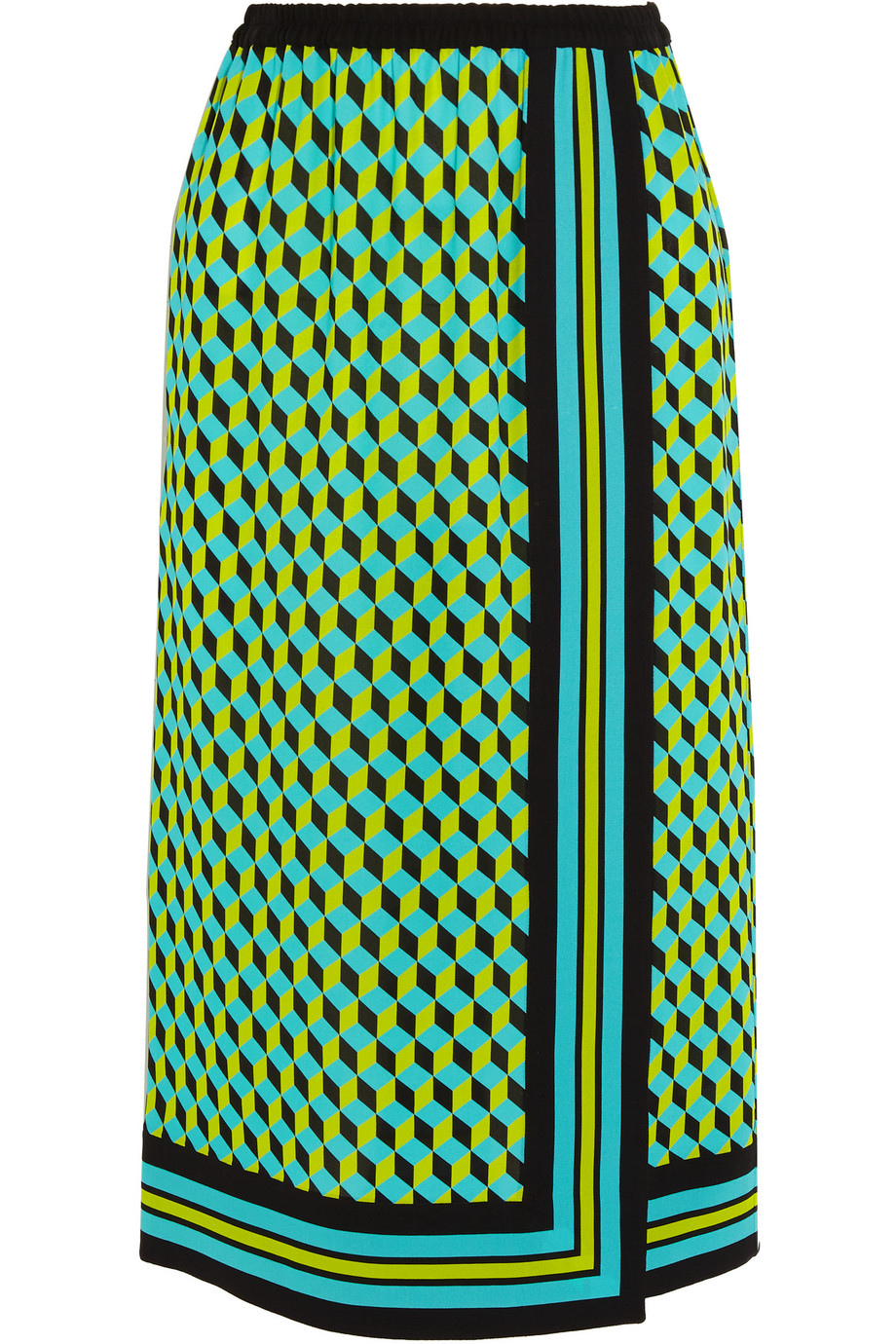 Printed Wrap-Effect Silk-Crepe Skirt, Green, Women's, Size: 4