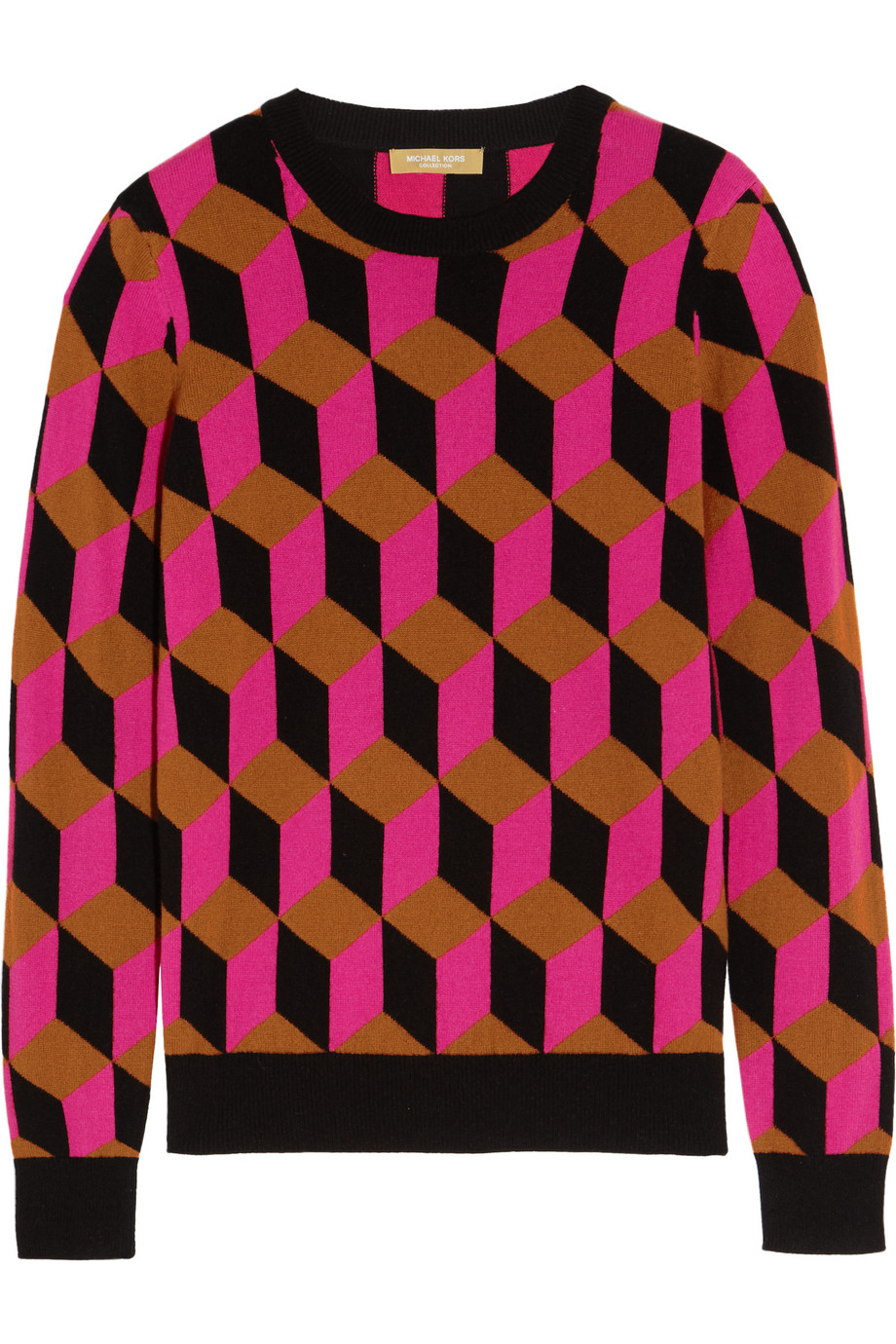 Hexagon-Intarsia Cashmere Sweater, Fuchsia, Women's, Size: XS