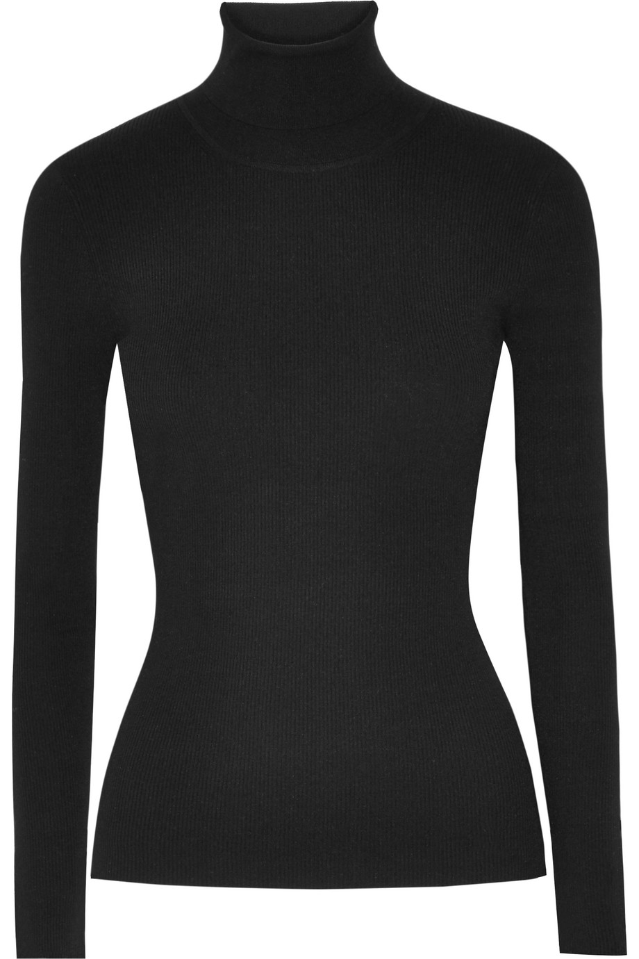 Ribbed-Knit Turtleneck Sweater, Black, Women's