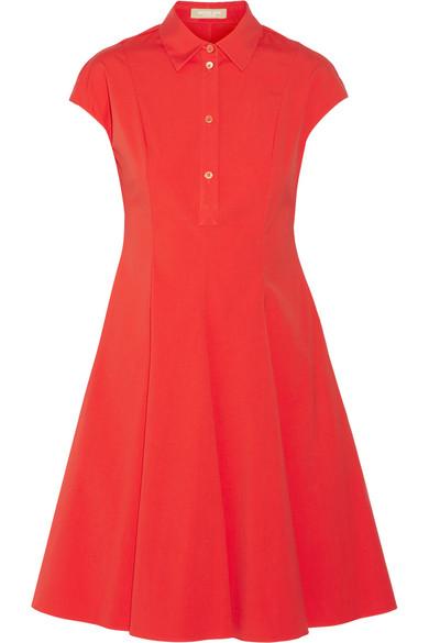 michael kors female 125046 michael kors collection stretchcotton poplin shirt dress crimson