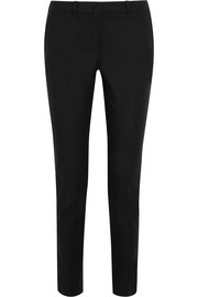 Samantha stretch-cotton poplin slim-leg pants