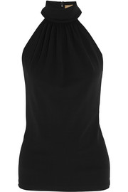 Gathered stretch-crepe halterneck top