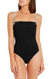 T by Alexander Wang Two-tone bonded swimsuit