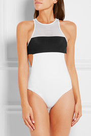 T by Alexander Wang Two-tone mesh-paneled swimsuit