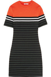 Striped stretch-cotton ponte mini dress
