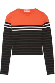 Striped stretch-cotton jersey top