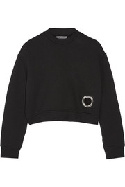 Eyelet-embellished cotton-blend fleece sweatshirt