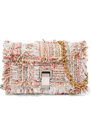 Courier mini leather-trimmed tweed shoulder bag