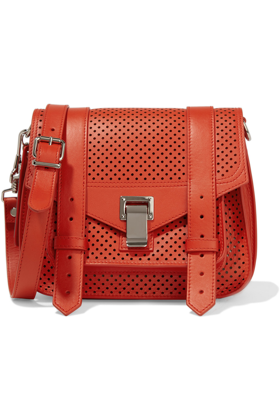 Proenza Schouler The PS1 Perforated Leather Satchel, Red, Women's