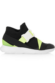 Neon and leather-trimmed neoprene sneakers