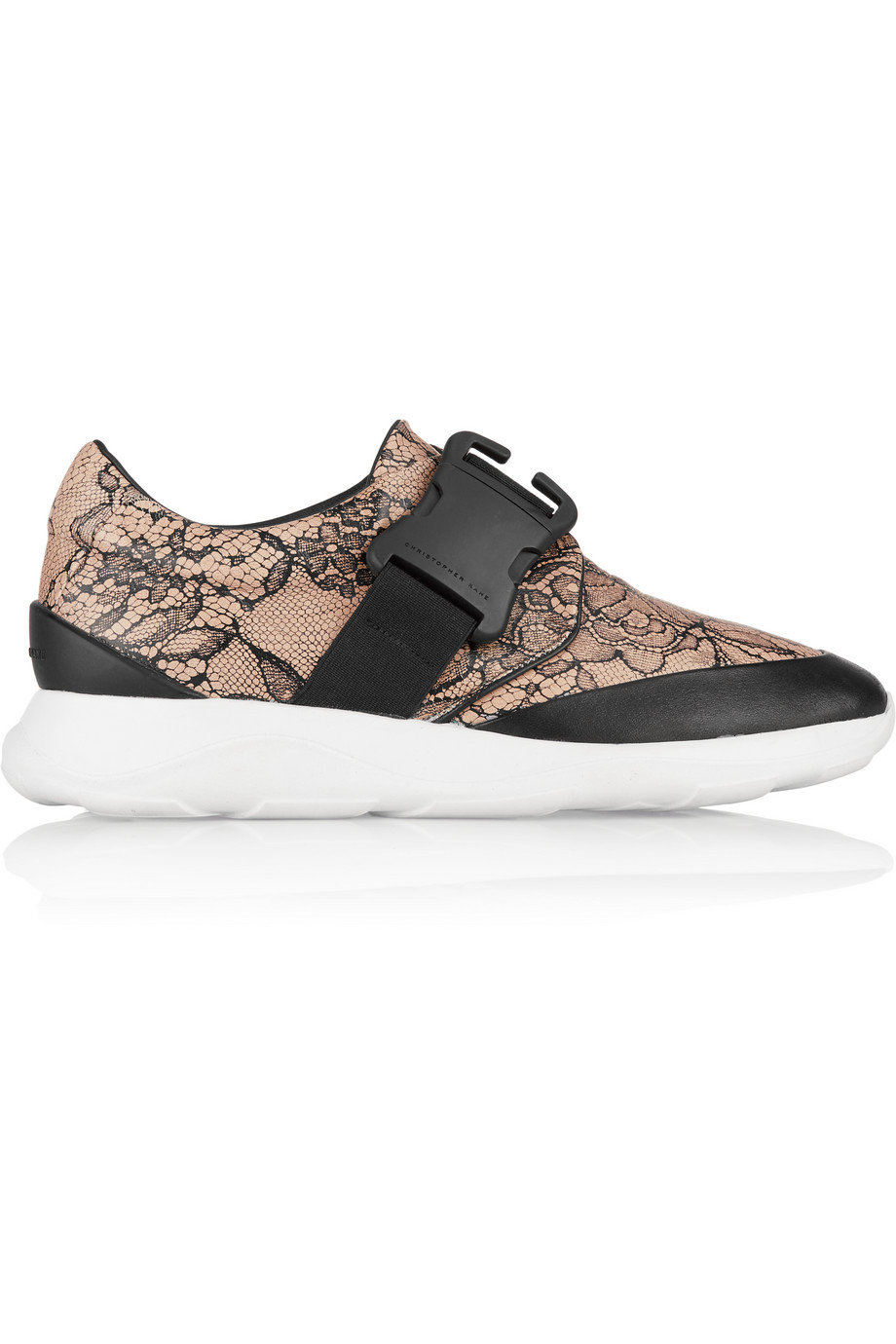 Lace-Print Leather Sneakers, Christopher Kane, Beige, Women's US Size: 8.5, Size: 39
