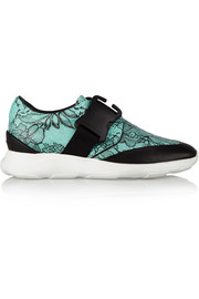 Lace-print leather sneakers