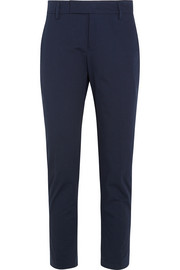 Cotton-blend twill tapered pants