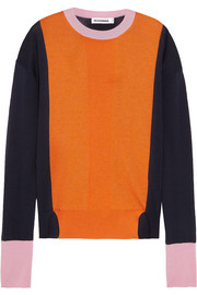 Color-block silk, cotton and cashmere-blend sweater