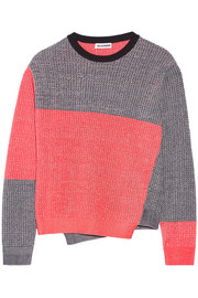 Color-block mélange cotton-blend sweater