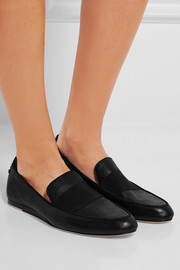 Sia grosgrain-trimmed textured-leather loafers
